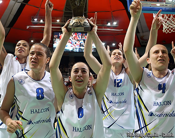 6. Silvia Dominguez (Halcon Avenida);  celebration, trophy, EuroLeague Women Final Four 2011